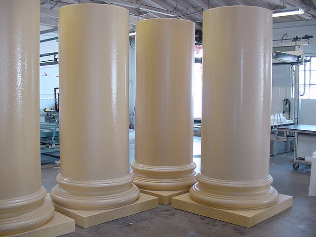 These 36-inch diameter columns for Paramount Studios were given a Polycoat finish. These are the lower sections; total height with the entasis-cut top sections was just under 22 feet.
