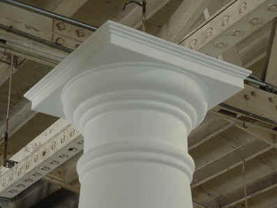 Close-up of the capital detailing on one of several entasis columns built for the highly successful TV show The West Wing.