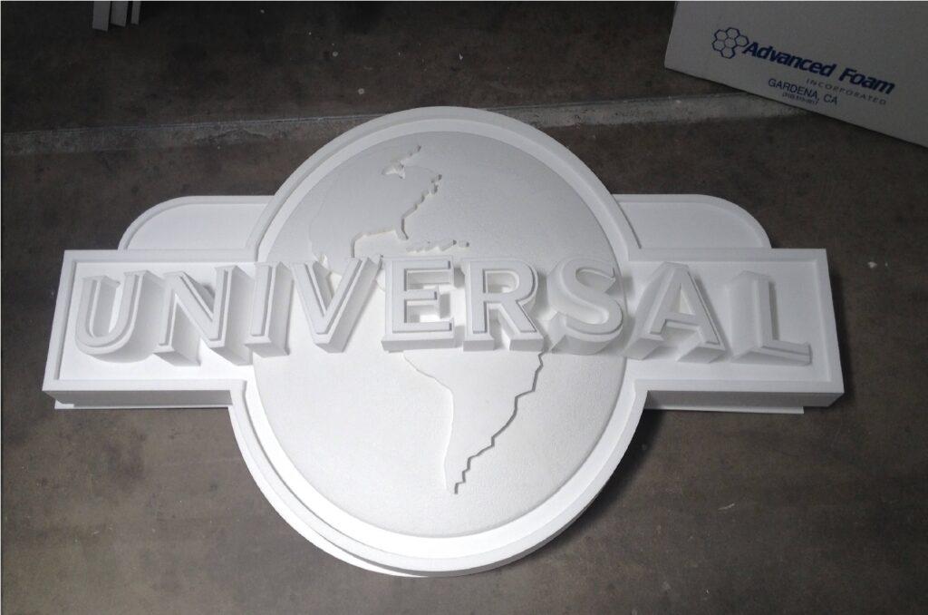 Universal Studios letters in foam.